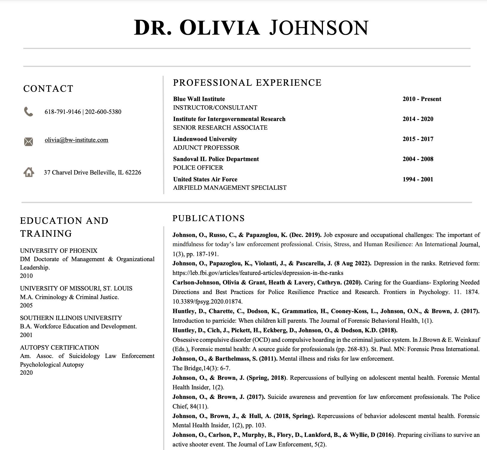 Olivia Johnson CV